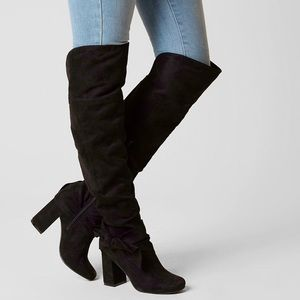 Black Over The Knee Oversize Bow Slouchy Boots